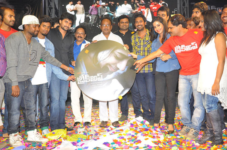 Ranadheer,Swathi,Nani And Sagar Posed With CD At Break Up Audio Launch