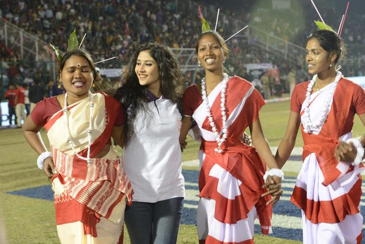 A Celeb With Traditional Dance Artists At Telugu Warriors Vs Bengal Tigers CCL 3 Match