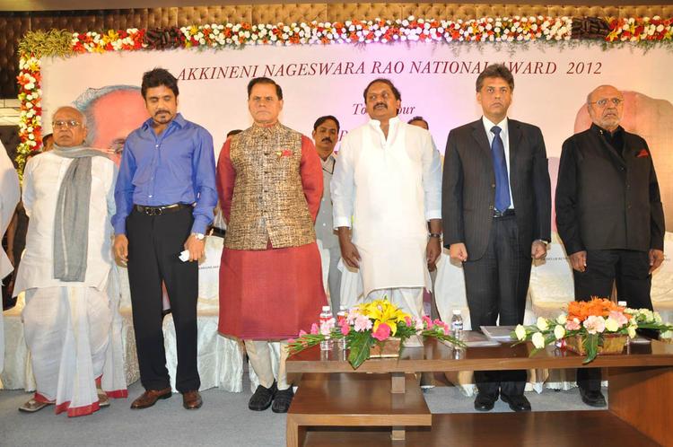 ANR, Nagarjuna,T Subbarami,C Kiran,Manish And Shyam Spotted At ANR Award Ceremony Function