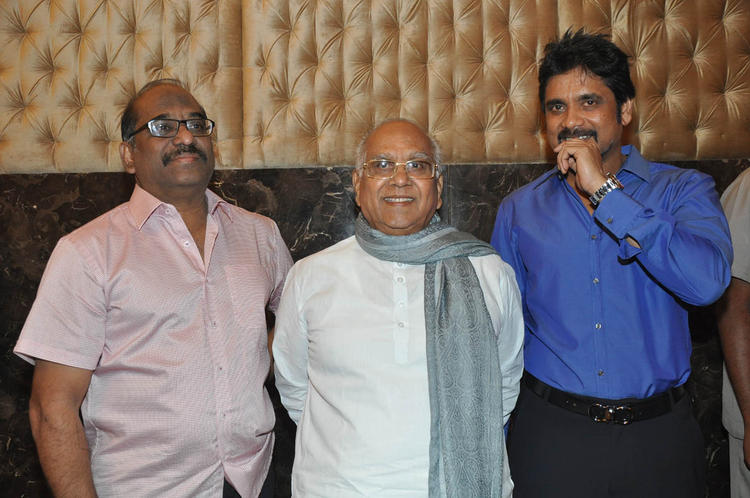 ANR With Son Nagarjuna Posed For Camera At ANR Award Ceremony Function