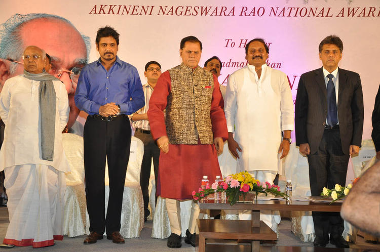 ANR,Nagarjuna,T Subbarami,C Kiran And Manish Snapped On Stage At ANR Award Ceremony Function