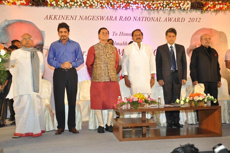 ANR,Nagarjuna,T Subbarami,C Kiran,Manish And Shyam Spotted At ANR Award Ceremony Function