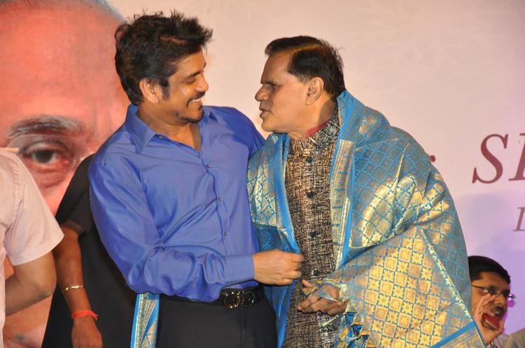 Nagarjuna And T Subbarami A Cosy Still At ANR Award Ceremony Function