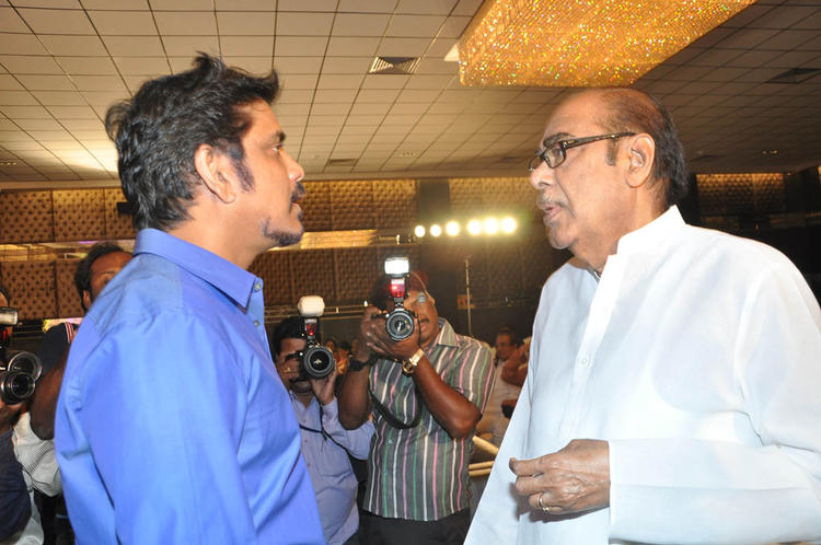 Nagarjuna Snapped With A Guest At ANR Award Ceremony Function