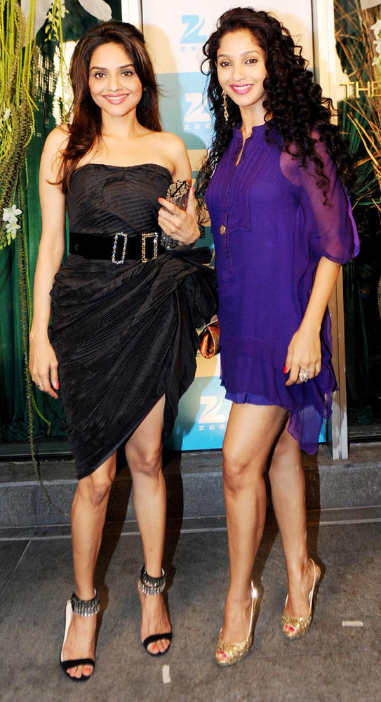 Madhoo With Suman In A Sexy Pose At 20th Anniversary Bash Of ZEE TV