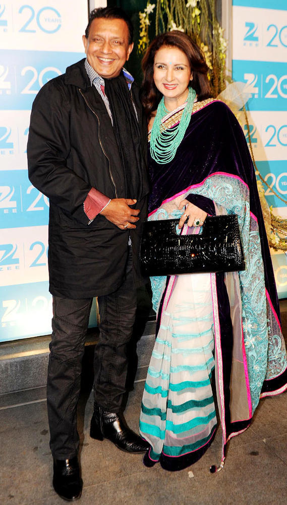 Mithun And Poonam Smiling Pose For Camera At 20th Anniversary Bash Of ZEE TV