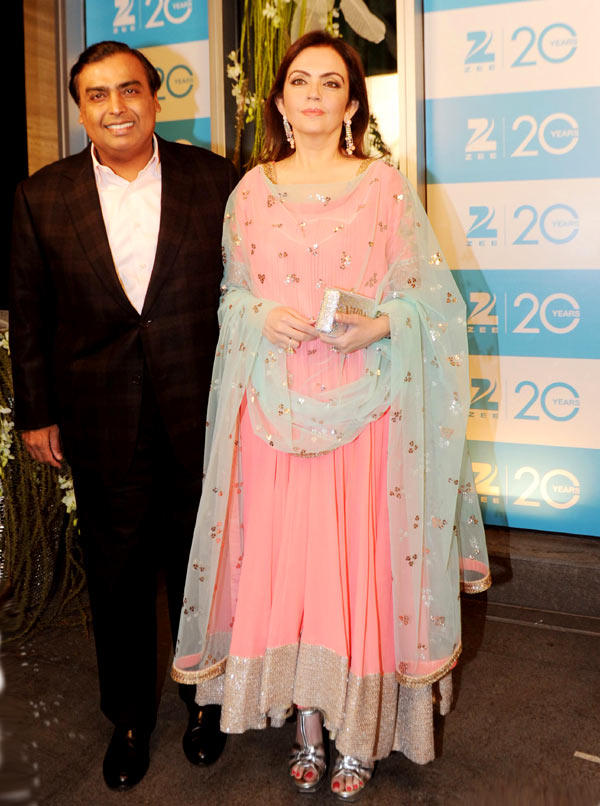 Mukesh With Wife Nita Spotted At 20th Anniversary Bash Of ZEE TV