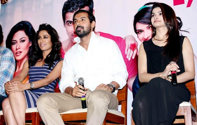 Chitrangada,John And Prachi On Stage At I Me Aur Main Movie Press Conference