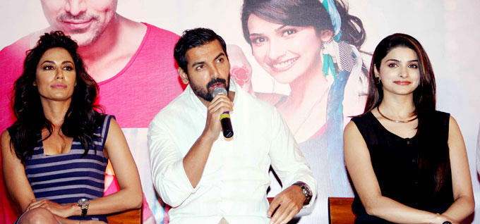 John Speaks And Chitrangada,Prachi Looks on At I Me Aur Main Movie Press Conference