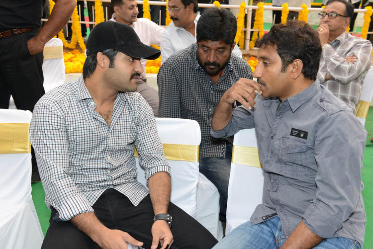 Jr. NTR And Srinu Vaitla Discussion Still At Jr NTR Santosh Srinivas Movie Launch Event
