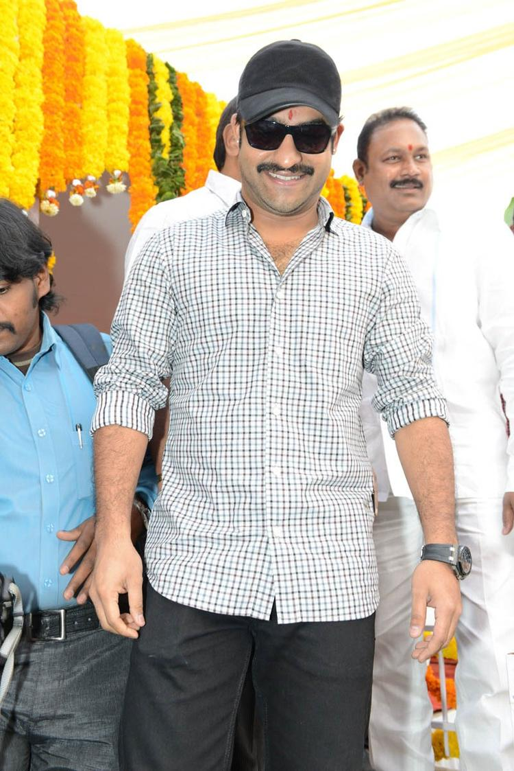 Jr. NTR Flashes A Smile At Jr NTR Santosh Srinivas Movie Launch Event