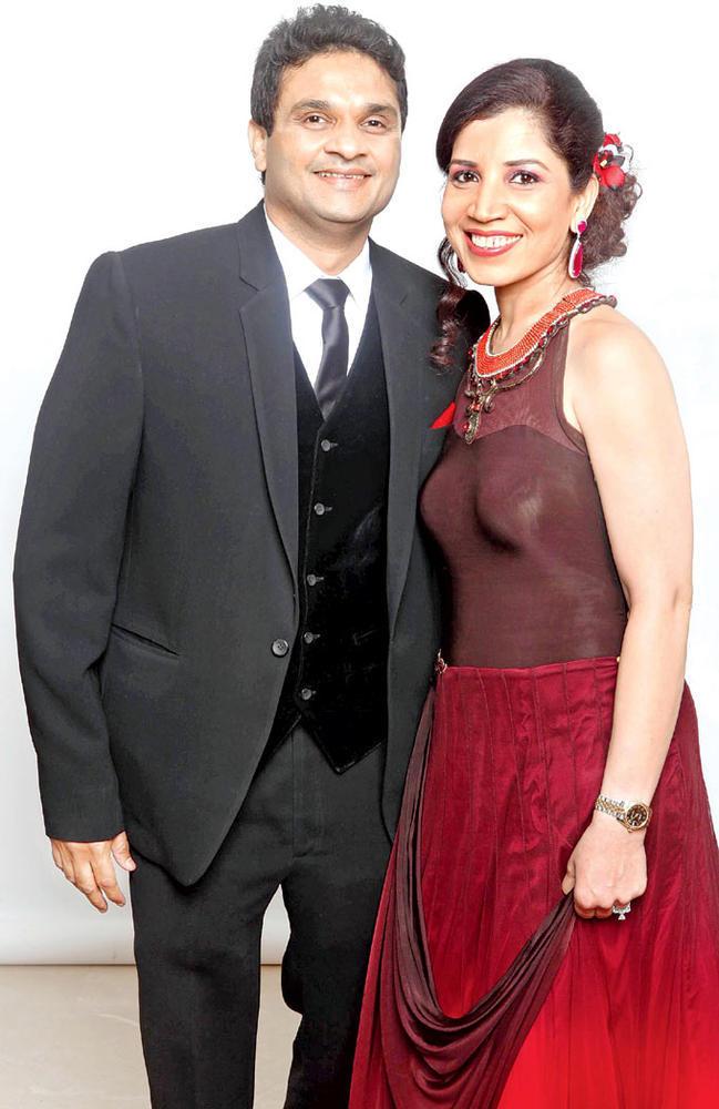 Mahavir With Wife Asha Smiling Pose For Camera At Their Wedding Anniversary Bash