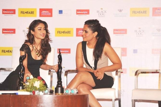 Ileana And Richa Photo Clicked On Stage At Launch Of Filmfare Special Award Issue