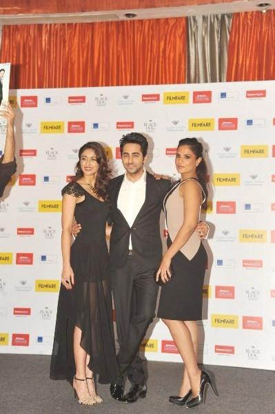 Ileana,Ayushmann And Richa Cosy Pose For Camera At Launch Of Filmfare Special Award Issue