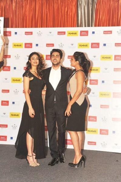 Ileana,Ayushmann And Richa Strike A Pose At Launch Of Filmfare Special Award Issue