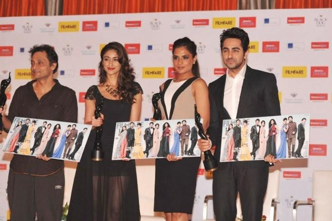 Sujoy,Ileana,Richa And Ayushmann Posed For Camera At Launch Of Filmfare Special Award Issue
