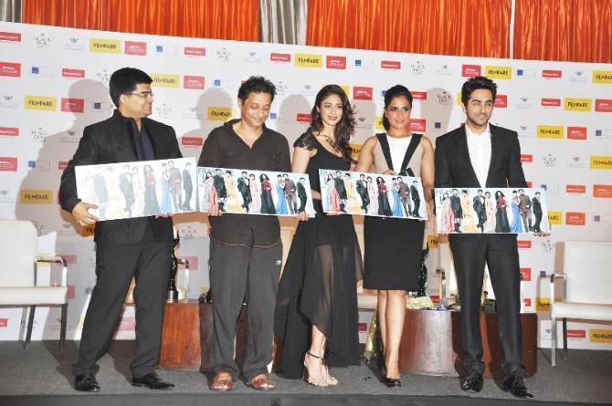 Sujoy,Ileana,Richa And Ayushmann Unveil The Filmfare Cover