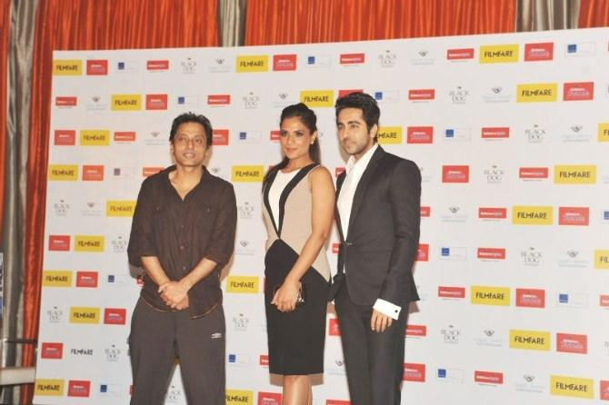 Sujoy,Richa And Ayushmann Snapped At Launch Of Filmfare Special Award Issue