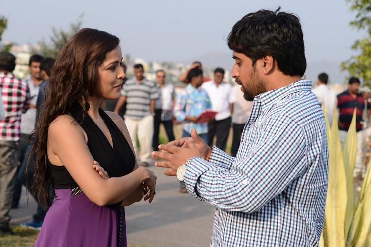 Priyanka And Gangarapu Laxman Photo Clicked At Athadu Ame O Scoter Movie Location