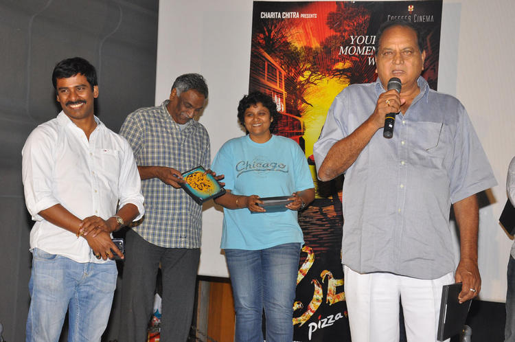 Nandini Chatting With Tammreddy And Suresh Smiling Look At Pizza Movie Premier Show Press Meet Event