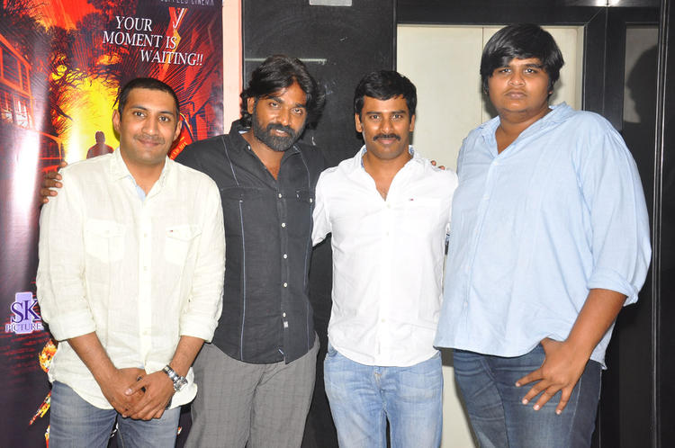 Vijay,Suresh And Karthik Posed At Pizza Movie Premier Show Press Meet Event