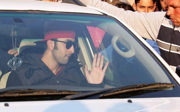 Ranbir Kapoor In Car Greets His Fans On The Sets Of Besharam
