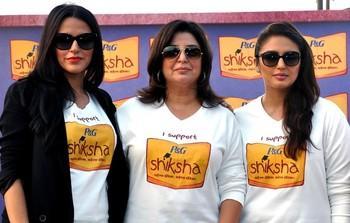 Neha,Farah And Huma Pose For Camera At The Walk For The Love Of Shiksha In Mumbai