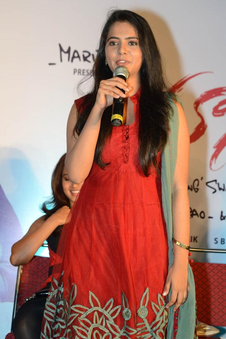 Manasa Addresses The Media At Romance Movie First Look Teaser Launch Event