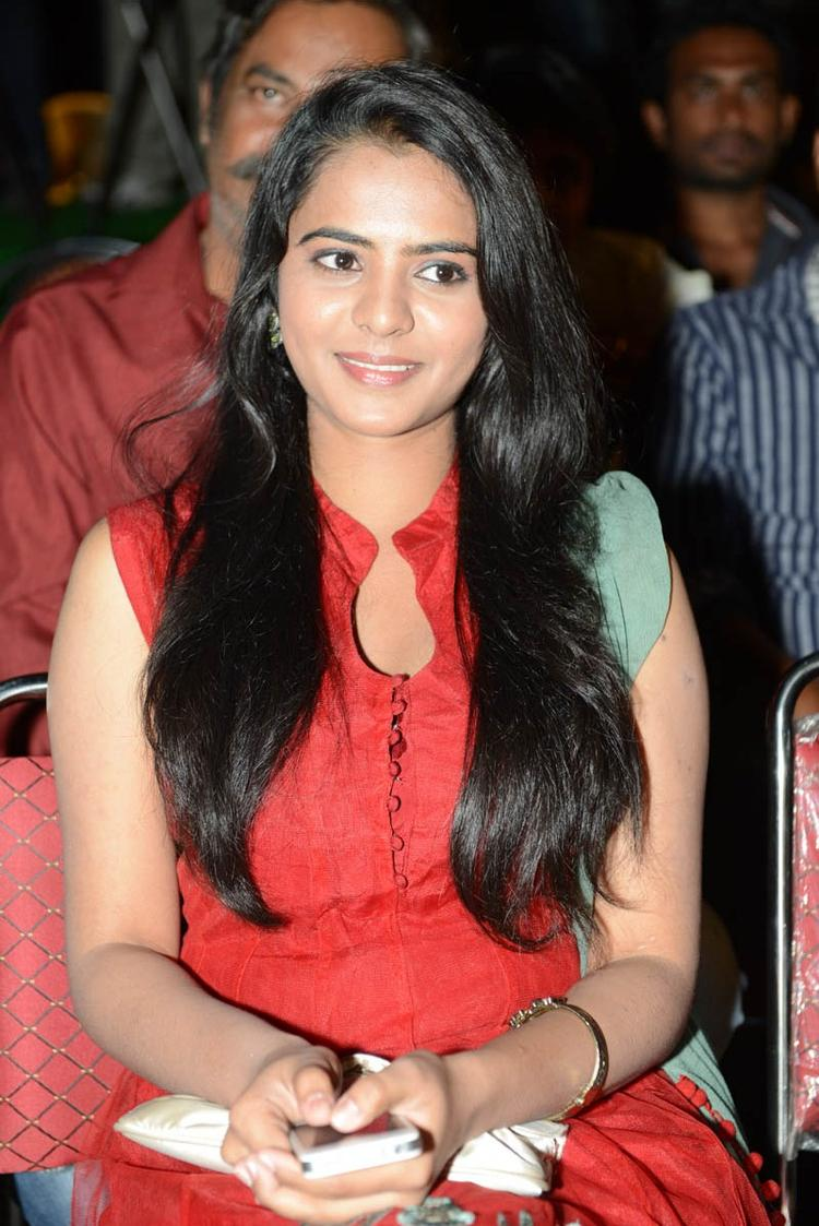 Manasa Charming Look Photo Still A Red Chudidar At Romance Movie Teaser Launch