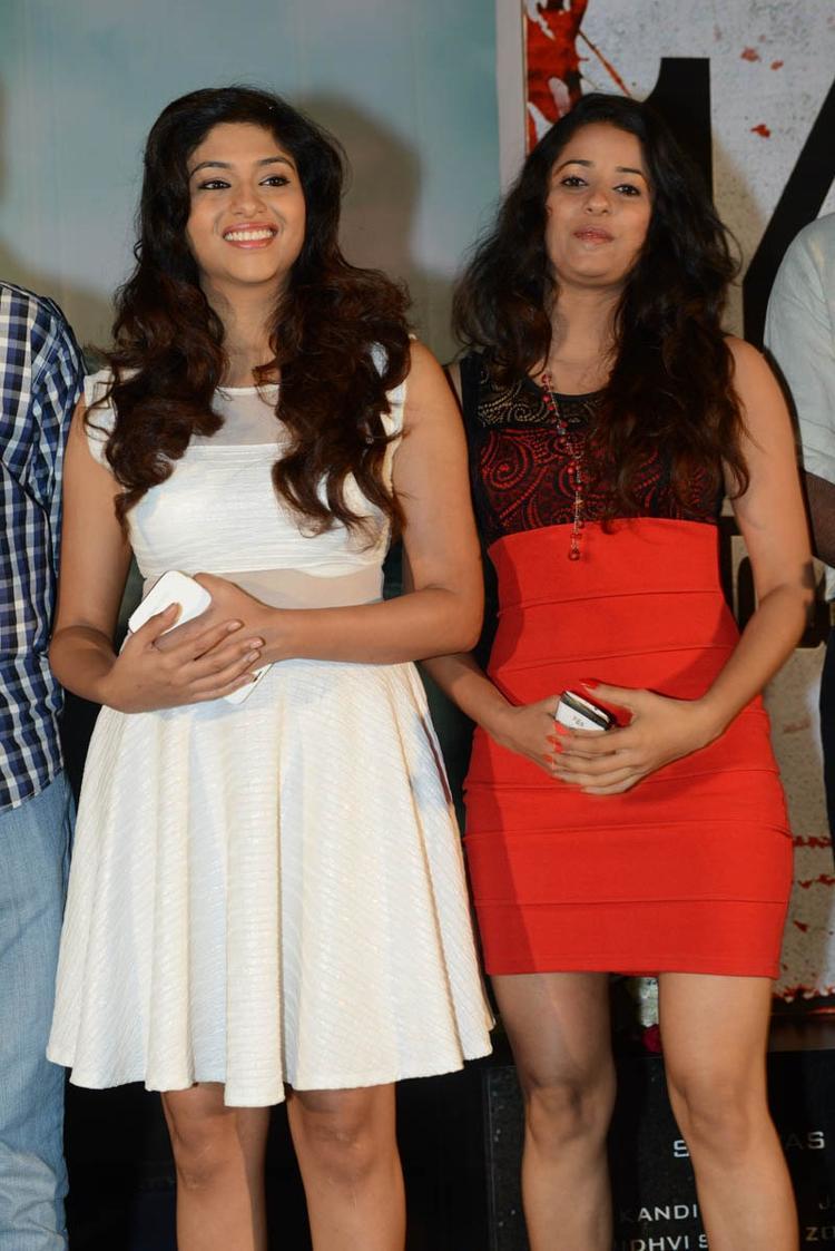 Lakshmi And Shravya Smiling Photo Clicked At Audio Launch Of Movie 143 Hyderabad