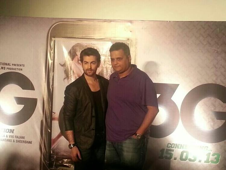 Neil Nitin With A Friend Pose For Camera At Launch Of Track Kaise Baataon From Film 3G