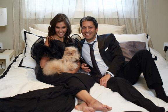 Lisa Ray And Jason Dehni Cute Smiling Photo Still In Bed Room