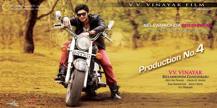 Srinivas Stylish Look On Bullet Photo Poster Of His Upcoming New Movie