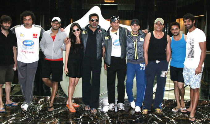 Bobby ,Kanchi,Suniel And Shabbir Posed For Camera At CCL 3 Match In Hyderabad