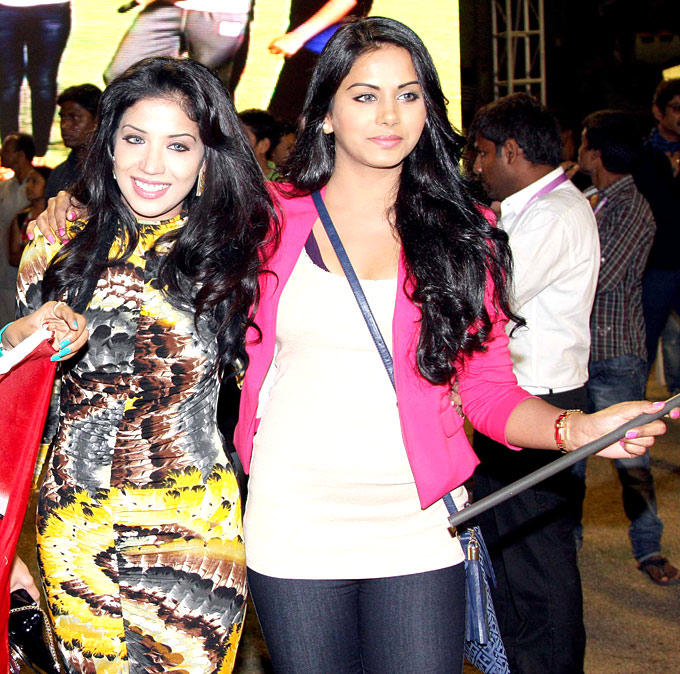 Richa With A Friend Snapped At CCL 3 Match In Hyderabad