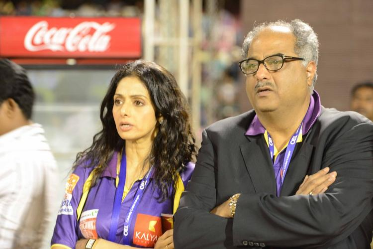 Sridevi With Hubby Boney Attend The CCL 3 Telugu Warriors Vs Mumbai Heroes Match