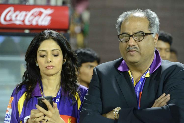 Sridevi With Hubby Boney At CCL 3 Telugu Warriors Vs Mumbai Heroes Match