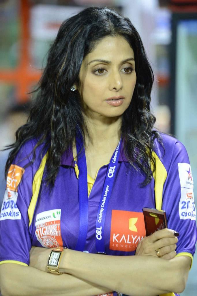Sridevi Kapoor At The CCL 3 Telugu Warriors Vs Mumbai Heroes Match