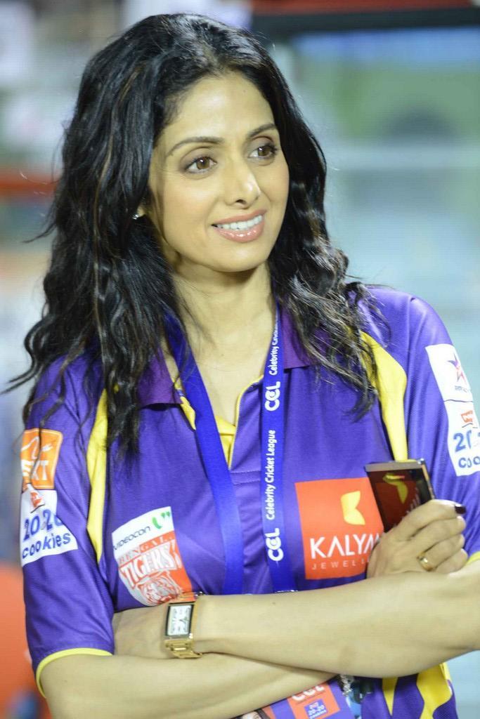 Sridevi Kapoor Flashes Smile At CCL 3 Telugu Warriors Vs Mumbai Heroes Match