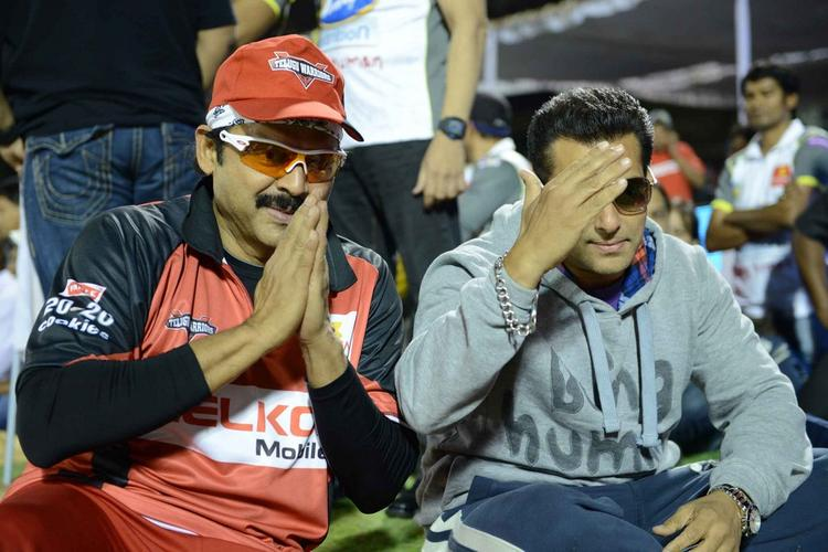Venkatesh And Salman Greet Photo Clicked At CCL 3 Telugu Warriors Vs Mumbai Heroes Match