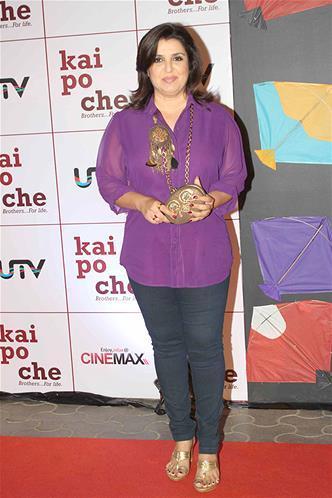 Farah Khan In Red Carpet At Kai Po Che Premiere Show Event