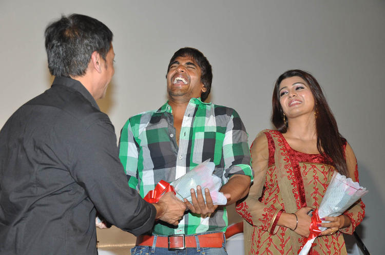 Raj,Srinivas And Tashu Smiling Photo Clicked At Gola Seenu Audio Launch Function