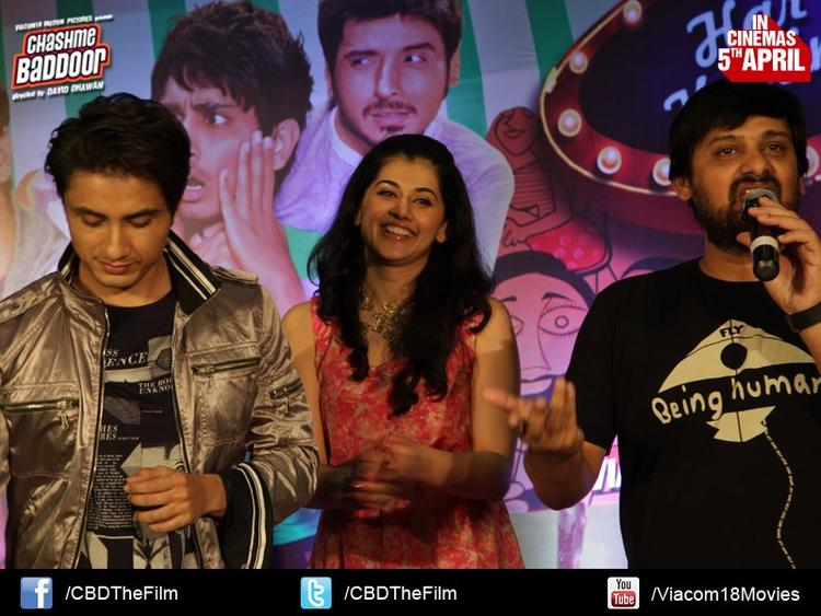 Ali Zafar,Taapsee And Wajid Photo Clicked At Chashme Baddoor Music Launch
