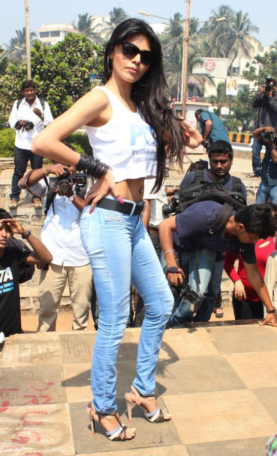 Sherlyn Chopra Strikes A Pose At Promotion Of PETA's Safe Sex For Animals Campaign