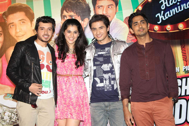 Divyendu,Taapsee,Ali And Siddharth Posed For Camera At Chashme Buddoor Audio Launch Event