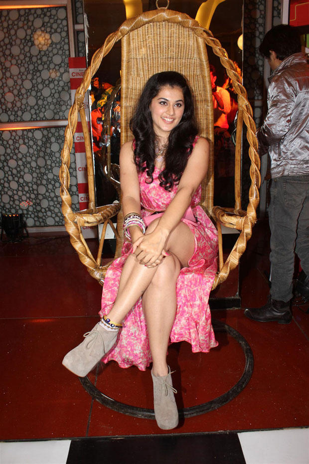 Taapsee Sitting In The Wicker Swing And Showing Of Her Milky Legs At Chashme Buddoor Audio Launch Event