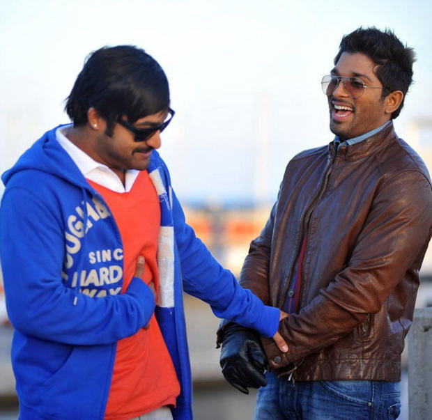 Jr. NTR And Allu Arjun Cool Hand Shakes On The Shooting Sets In Spain