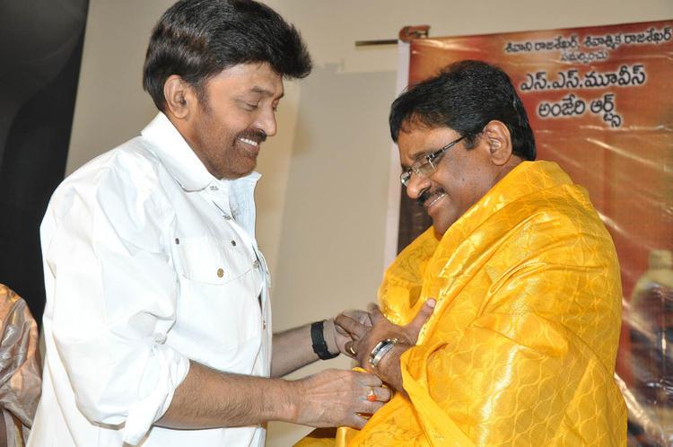 Rajasekhar Smiling Photo Clicked At Mahankali Movie Trailer Launch