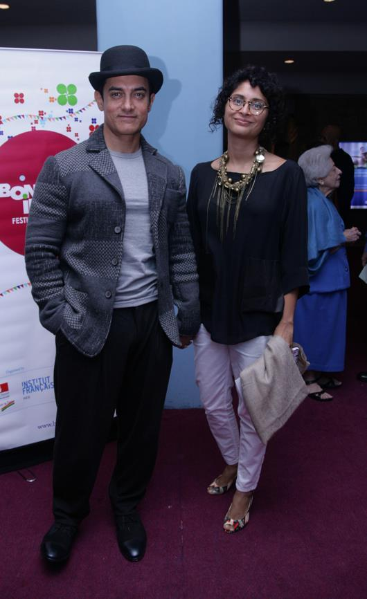 Aamir And Kiran Posed For Camera At Indo French Film Festival