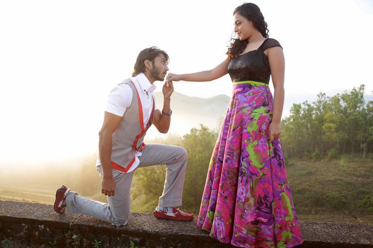 Chetan And Nithya In Sweet Moment Still From Mynaa Kannada Movie